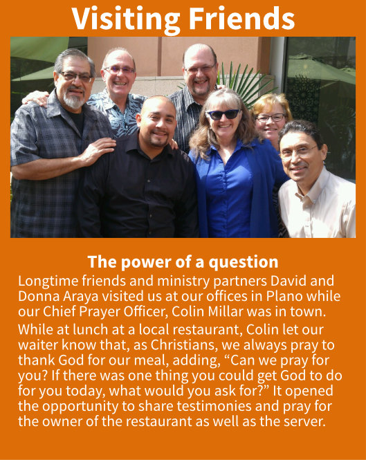 David, Donna, Colin and asking questions evangelistically.